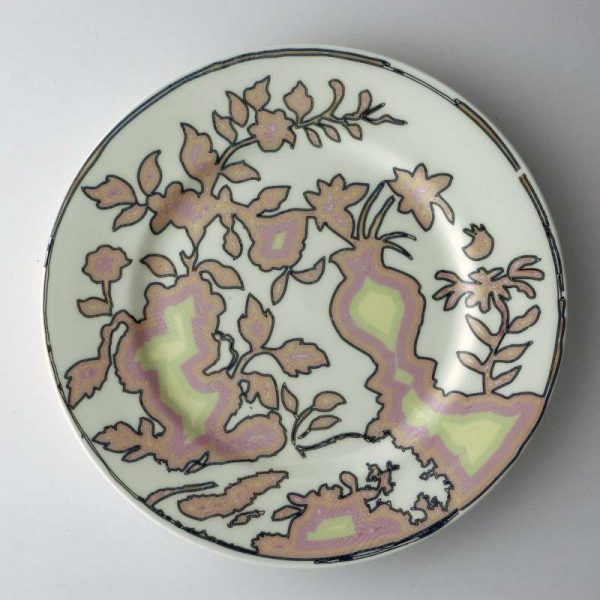 White bone china dinner plate with abstract chinoiserie pattern