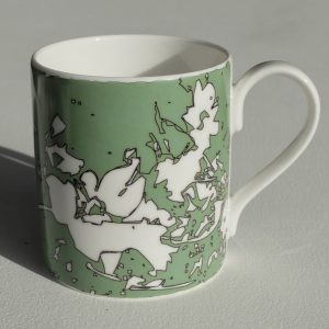 White bone china mug with green and black line abstract floral surface pattern