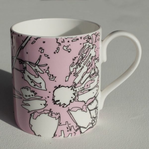 White bone china mug with hand applied pink and black line abstract floral surface pattern